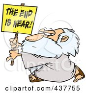 Royalty Free RF Clip Art Illustration Of A Cartoon Man Holding A The End Is Near Sign
