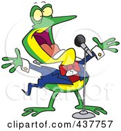 Royalty Free RF Clip Art Illustration Of A Cartoon Tenor Frog Singing by toonaday