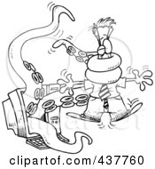 Royalty Free RF Clip Art Illustration Of A Black And White Outline Design Of A Tentacled Monster Attacking A Man Through A Computer Screen