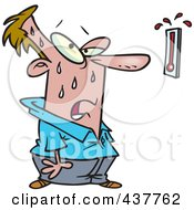 Royalty Free RF Clip Art Illustration Of A Cartoon Man Sweating And Staring At A Hot Thermometer