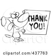 Royalty Free RF Clip Art Illustration Of A Black And White Outline Design Of A Grateful Dog Holding A Thank You Sign by toonaday