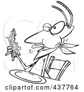 Royalty Free RF Clip Art Illustration Of A Black And White Outline Design Of A Termite Dining On Wood by toonaday
