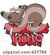 Royalty Free RF Clip Art Illustration Of A Grateful Bear Resting On Thank You Text