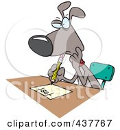 Royalty Free RF Clip Art Illustration Of A Cartoon School Dog Taking A Test