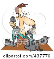 Cartoon Male Telemarketer Handling Multiple Lines