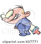 Royalty Free RF Clip Art Illustration Of A Cartoon Baby Grinning Evily Over His Shoulder by Ron Leishman