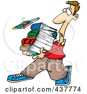Royalty Free RF Clip Art Illustration Of A Cartoon Male Student Carrying Text Books