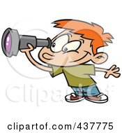 Royalty Free RF Clip Art Illustration Of A Cartoon Smiling Boy Using A Telescope