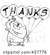 Royalty Free RF Clip Art Illustration Of A Black And White Outline Design Of A Grateful Boy Holding Thanks Balloons by toonaday