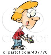 Royalty Free RF Clip Art Illustration Of A Little Cartoon Boy Texting On A Cell Phone by toonaday
