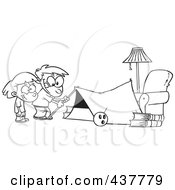 Royalty Free RF Clip Art Illustration Of A Black And White Outline Design Of Kids Setting Up A Camping Tent In A Living Room