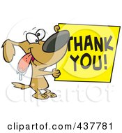 Royalty Free RF Clip Art Illustration Of A Drooling Cartoon Grateful Dog Holding A Thank You Sign