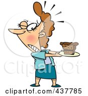 Royalty Free RF Clip Art Illustration Of A Tempted Cartoon Woman Holding A Slice Of Cake On A Plate
