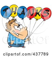 Royalty Free RF Clip Art Illustration Of A Grateful Cartoon Boy Holding Thanks Balloons by toonaday