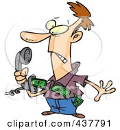 Royalty Free RF Clip Art Illustration Of An Annoyed Cartoon Man Holding A Phone With Telemarket Money Flying Out by Ron Leishman