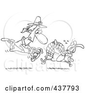 Royalty Free RF Clip Art Illustration Of A Black And White Outline Design Of A Pilgrim Chasing A Turkey Bird