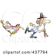 Royalty Free RF Clip Art Illustration Of A Mad Cartoon Turkey Bird Chasing A Pilgrim by toonaday