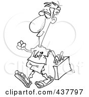 Royalty Free RF Clip Art Illustration Of A Black And White Outline Design Of A Businessman Wearing A TGIF Shirt On Casual Work Day