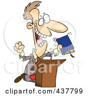 Royalty Free RF Clip Art Illustration Of A Cartoon Televangelist Man Preaching At A Podium by toonaday