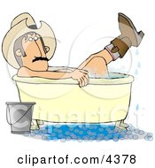 Redneck Cowboy Bathing With Hat And Boots On