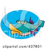 Royalty Free RF Clip Art Illustration Of A Cartoon Tempted Fish Staring At A Hook by toonaday