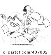 Royalty Free RF Clip Art Illustration Of A Black And White Outline Design Of A Happy Businessman Tripping Off His Tie And Dropping Papers At The End Of A Friday Work Day