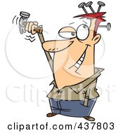 Royalty Free RF Clip Art Illustration Of A Cartoon Man Hammering Nails In His Head by toonaday