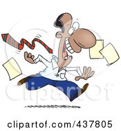 Royalty Free RF Clip Art Illustration Of A Cartoon Businessman Tripping Off His Tie And Dropping Papers At The End Of A Friday Work Day