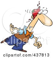 Royalty Free RF Clip Art Illustration Of A Walking Man Being Smacked In The Head With A Tomato
