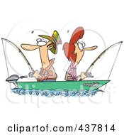 Royalty Free RF Clip Art Illustration Of A Couple Fishing Together In A Boat by toonaday