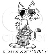 Royalty Free RF Clip Art Illustration Of A Black And White Outline Design Of A Cool Cat Wearing Shades