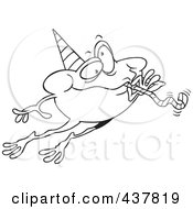 Royalty Free RF Clip Art Illustration Of A Black And White Outline Design Of A Leaping Party Frog