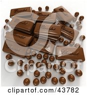 Clipart Illustration Of Stacked Chocolate Candies And 3d Chocolate Balls