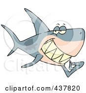 Royalty Free RF Clip Art Illustration Of A Grinning Shark Using A Toothpick by toonaday