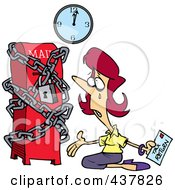 Royalty Free RF Clip Art Illustration Of A Cartoon Woman Kneeling And Crying With Her Tax Return At A Locked Up Mail Box by toonaday