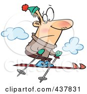 Royalty Free RF Clip Art Illustration Of A Nervous Man Jumping Too High While Skiing