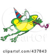 Royalty Free RF Clip Art Illustration Of A Leaping Party Frog by toonaday