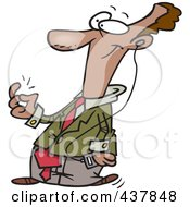 Cartoon Businessman Snapping His Fingers And Listening To Music