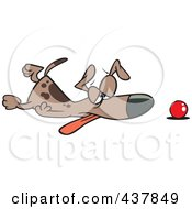 Royalty Free RF Clip Art Illustration Of A Tired Dog Collapsed By His Ball