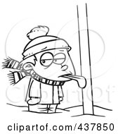 Royalty Free RF Clip Art Illustration Of A Black And White Outline Design Of A Boy With His Tongue Stuck To A Pole