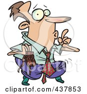 Royalty Free RF Clip Art Illustration Of A Cartoon Businessman Sneaking Around On His Tip Toes