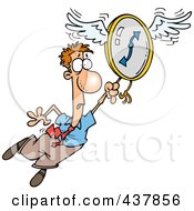 Royalty Free RF Clip Art Illustration Of A Cartoon Man Flying Away With A Clock by toonaday