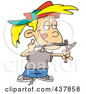 Royalty Free RF Clip Art Illustration Of A Cartoon Tomboy Girl Aiming A Sling Shot by toonaday