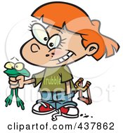 Royalty Free RF Clip Art Illustration Of A Cartoon Tomboy Girl Holding A Frog by toonaday