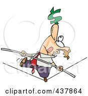 Royalty Free RF Clip Art Illustration Of A Cartoon Businessman Trying To Maintain Balanced Budget On A Tight Rope by toonaday