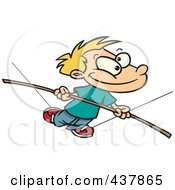 Royalty Free RF Clip Art Illustration Of A Cartoon Boy Walking On A Tight Rope by toonaday