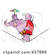 Royalty Free RF Clip Art Illustration Of A Purple Elephant Balanced On One Foot On A Tight Rope by toonaday