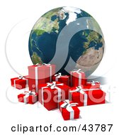 Clipart Illustration Of A 3d Globe Featuring The Atlantic With A Group Of Christmas Presents