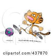 Royalty Free RF Clip Art Illustration Of A Tiger Playing Soccer by toonaday