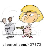 Royalty Free RF Clip Art Illustration Of A Girl Holding A Plate For Her Toast Popping Out Of A Toaster by toonaday